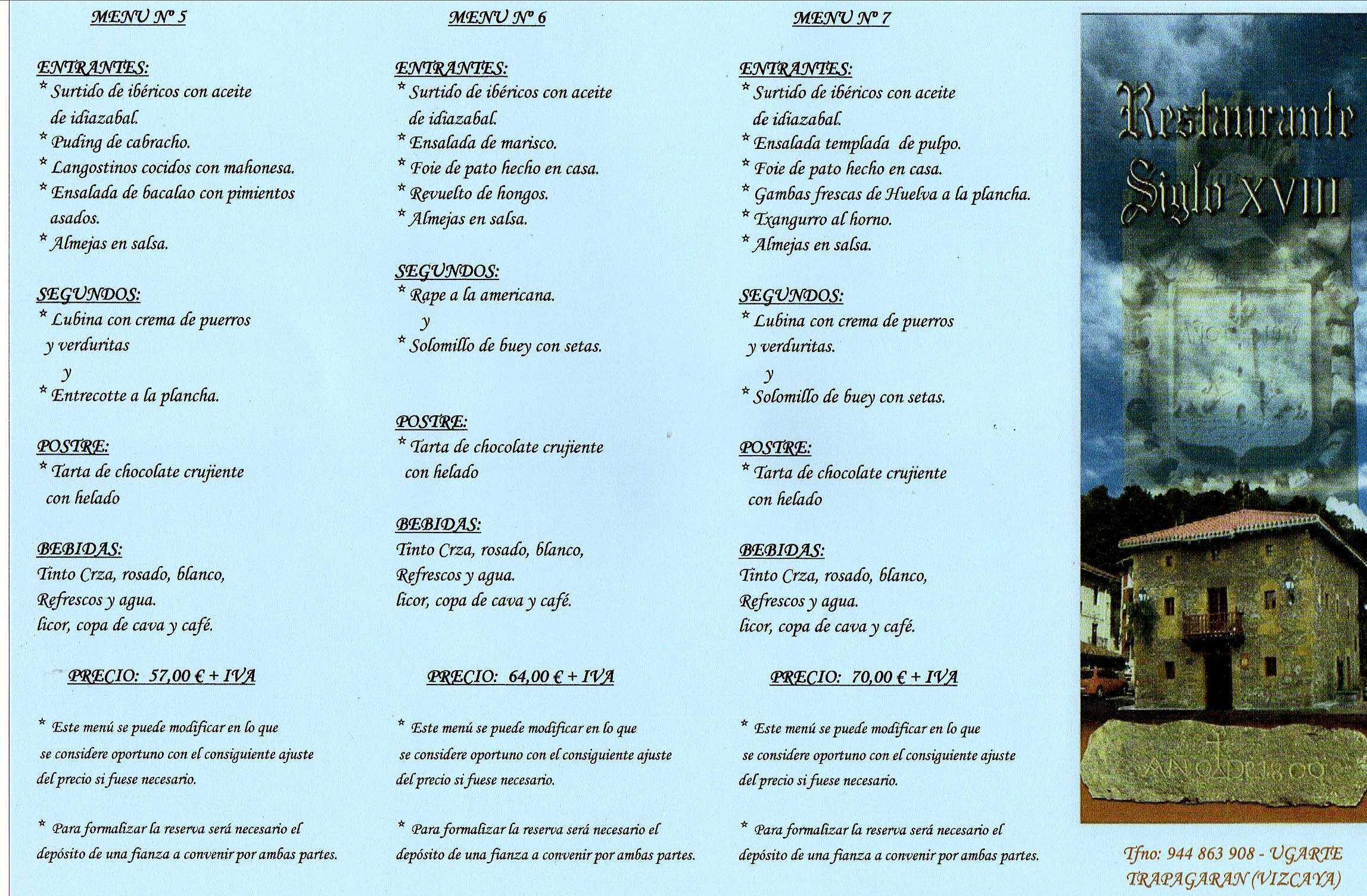 Menús especiales grupos.: Menús de Restaurante Siglo XVIII