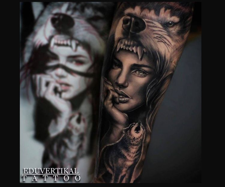 Tatuaje Wolf Headdress