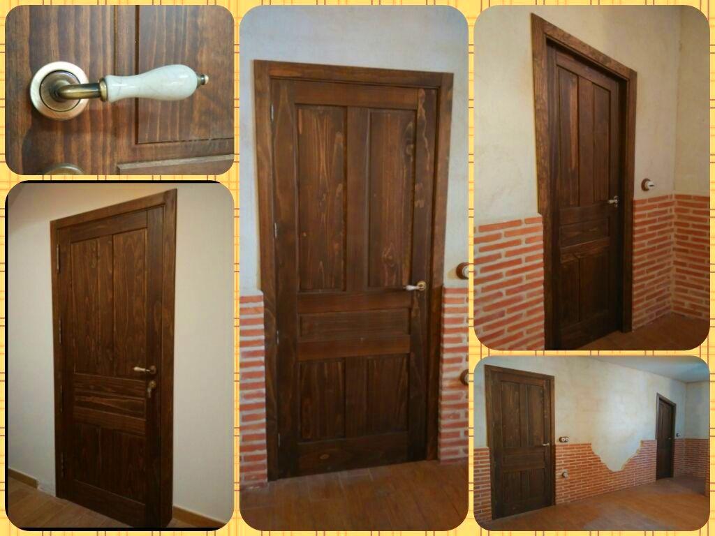 Puertas de madera maciza teñidas en color nogal.