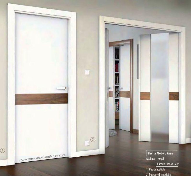 Puerta lacada Mod Aura acabado nogal y blanco