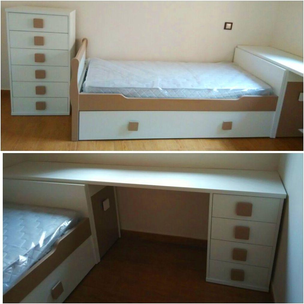 Dormitorio juvenil lacado en blanco y marrón