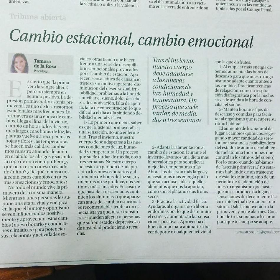 Cambio estacional, cambio emocional en La Opinión de Tenerife