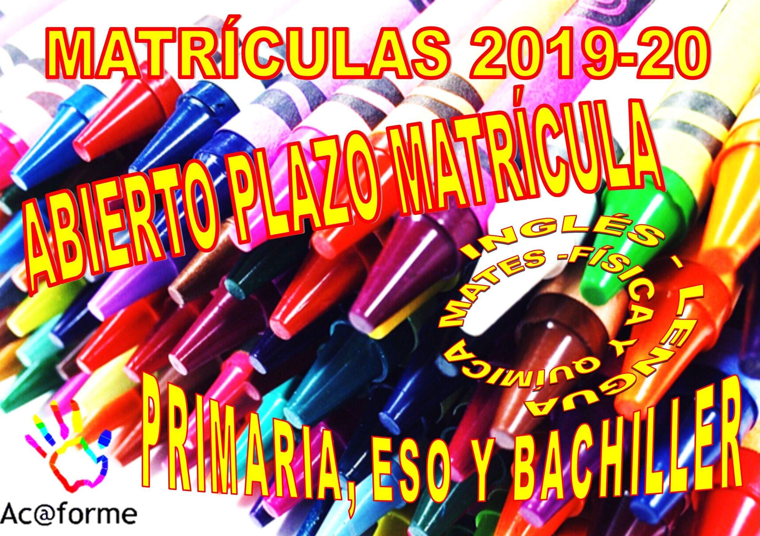 ABIERTO EL PLAZO DE MATRÍCULAS CURSO 2019-20