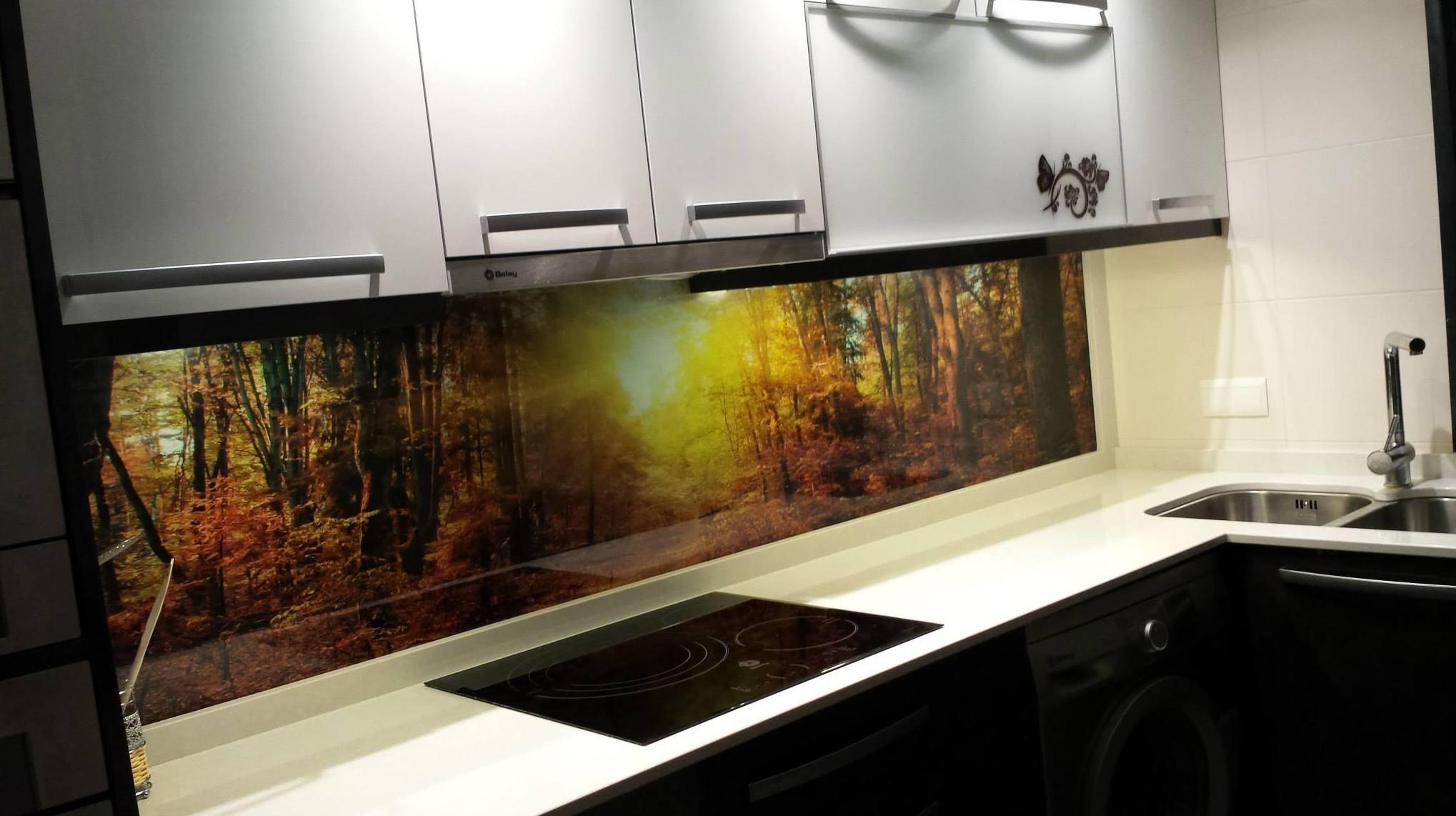 Cocina con bosque