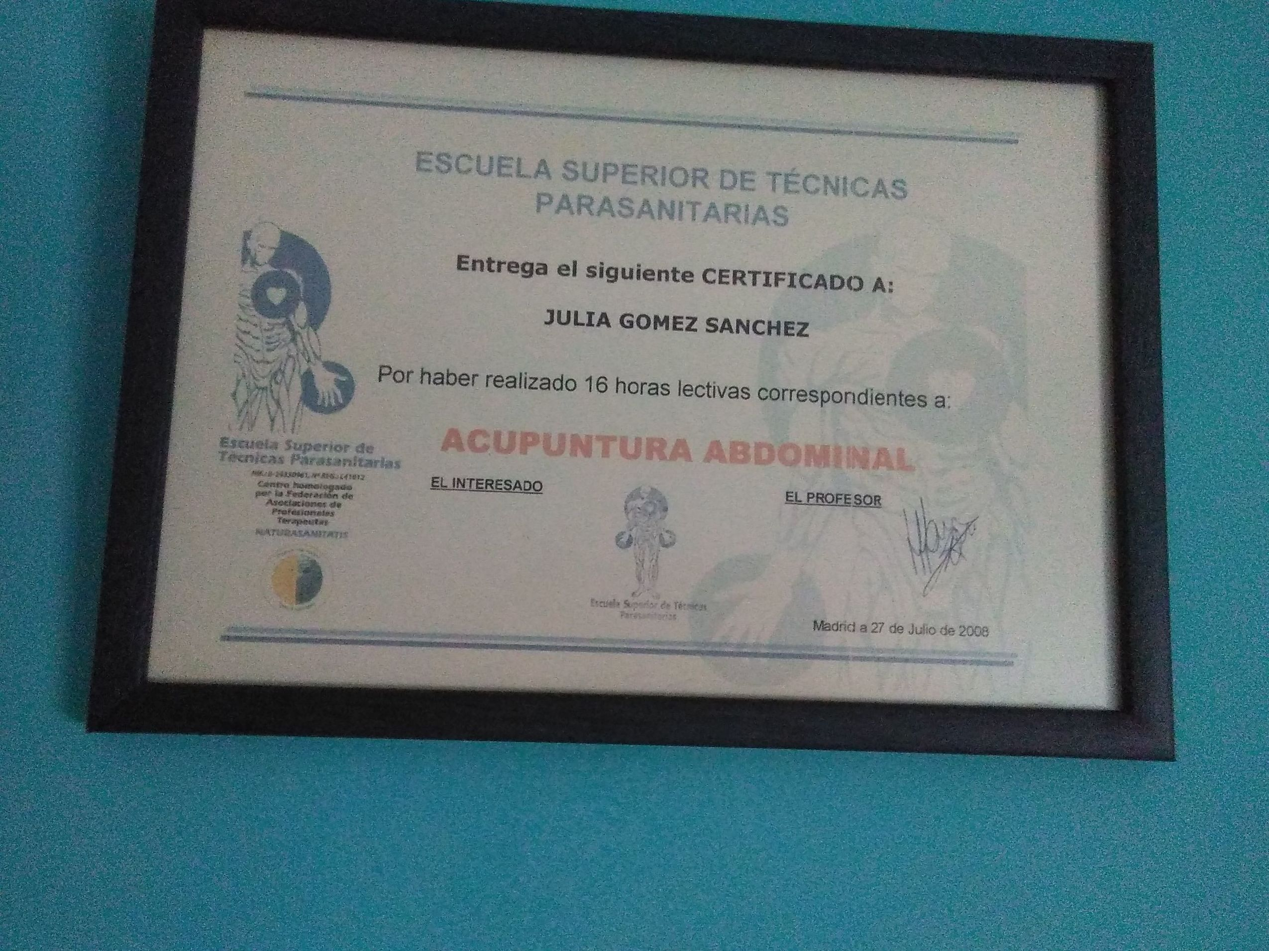 DIPLOMA DE ACUPUNTURA ABDOMINAL