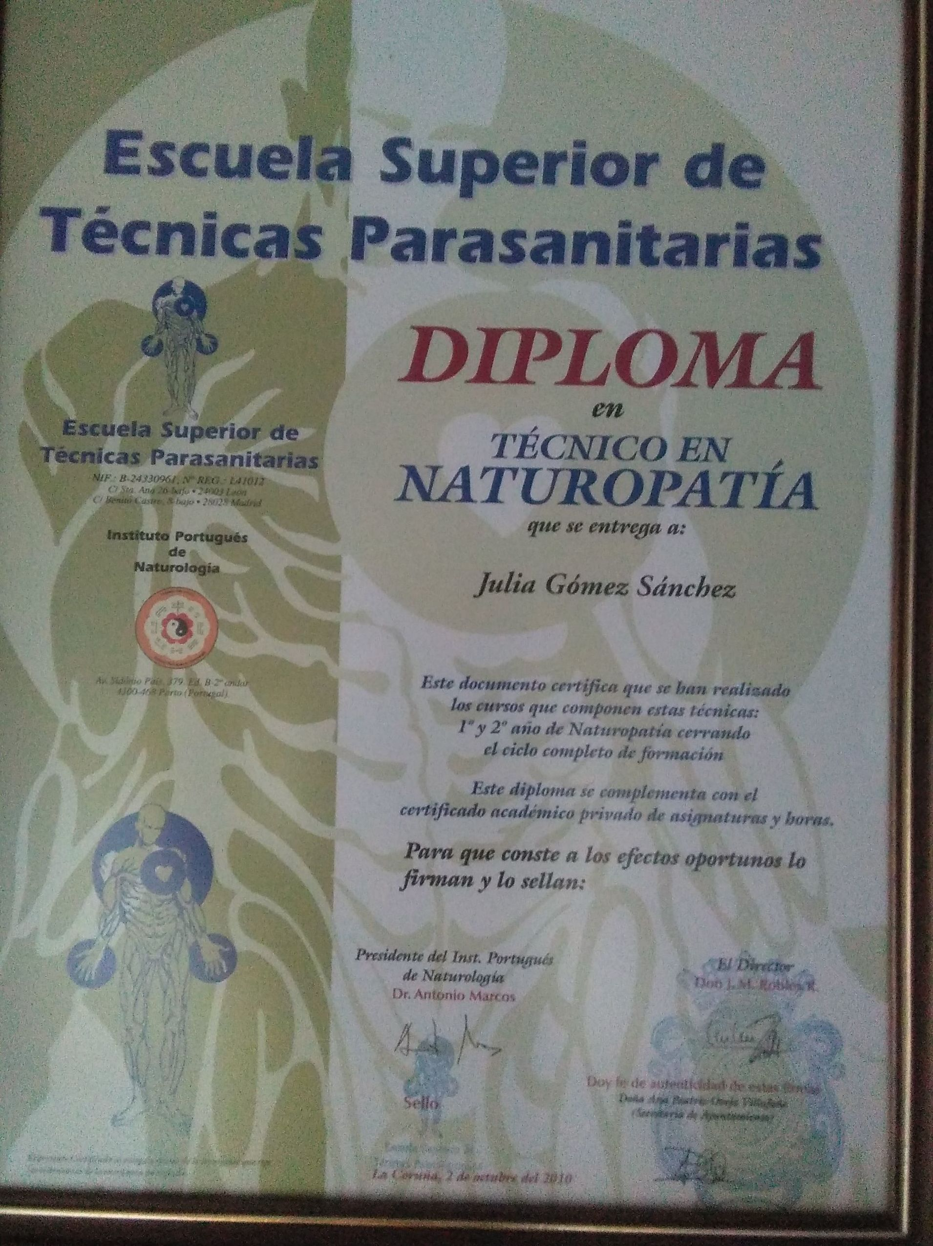 DIPLOMA DE NATUROPATIA