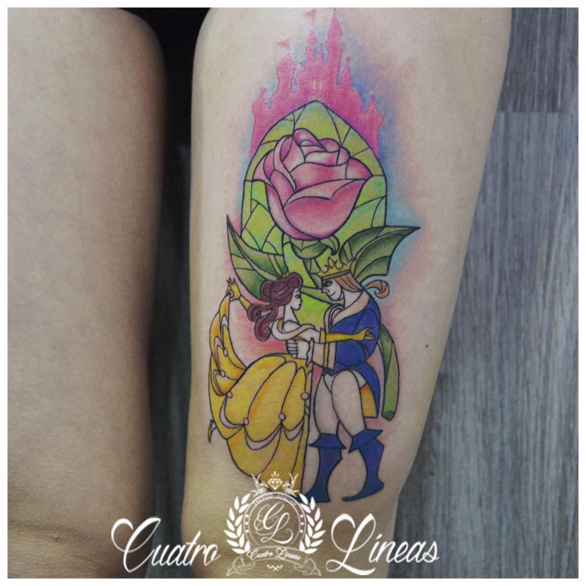 Tatuaje Disney Bella y bestia neotradicional