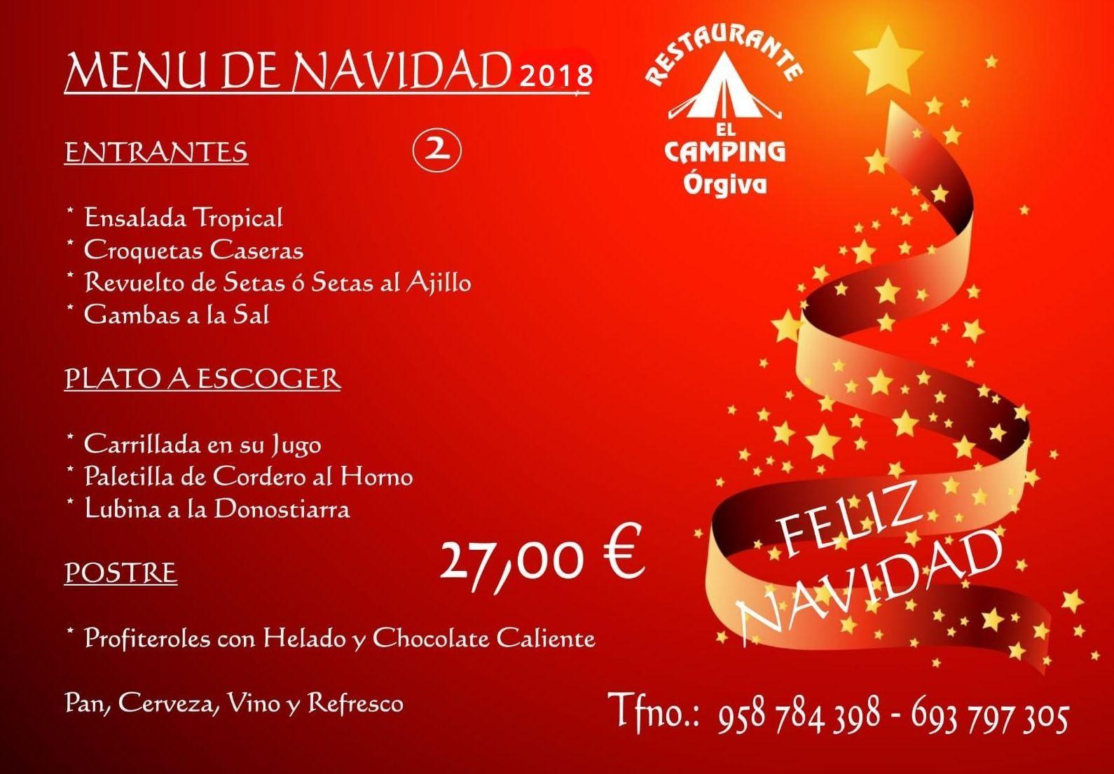 Menú de Navidad 2018  -  27,00 €: Carta de Restaurante El Camping Órgiva