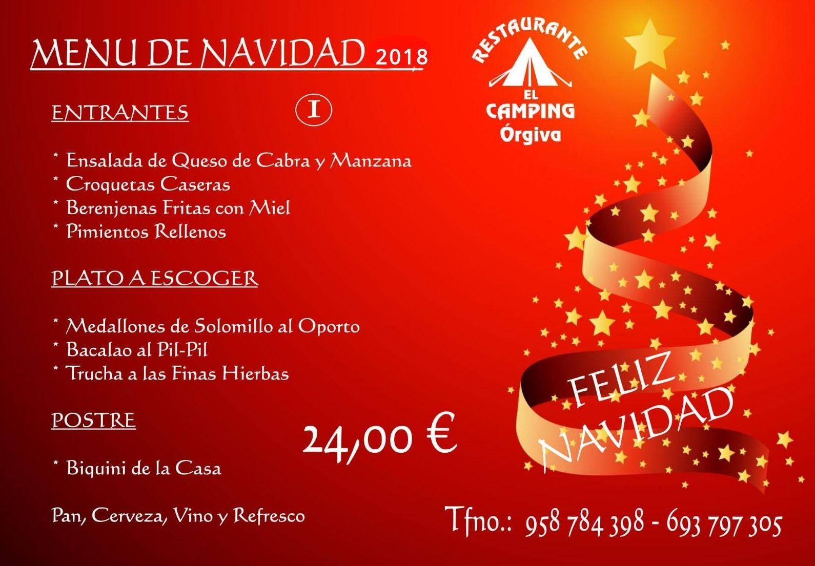 Menú de Navidad 2018  -  24, 00 €: Carta de Restaurante El Camping Órgiva
