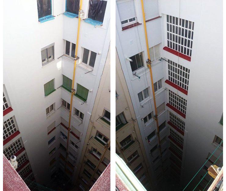Rehabilitación de patios de luces en Zaragoza