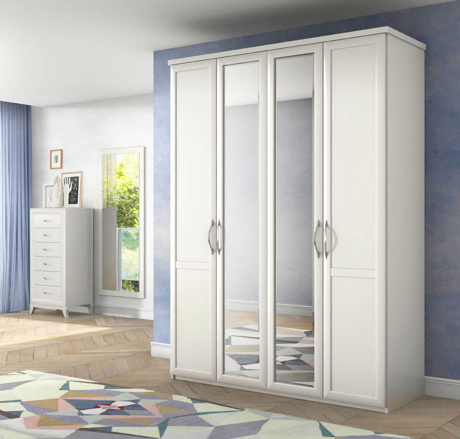 Armario cuatro puertas dos lunas. 164x227. color blanco