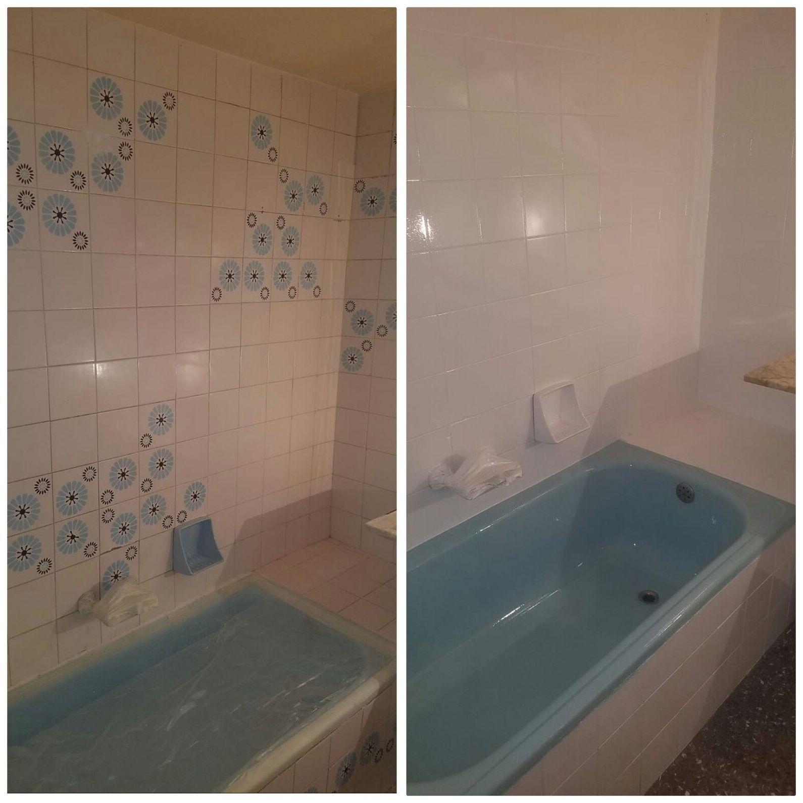 Antes y después del esmaltado de bañera y losas