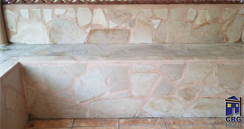 Treat and recovery of German stone and application of water repellent in a natural colour
