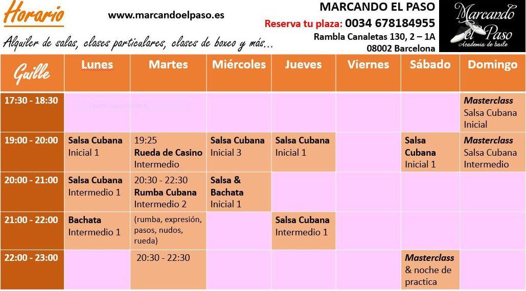 Horario MARCANDO EL PASO 01/2017