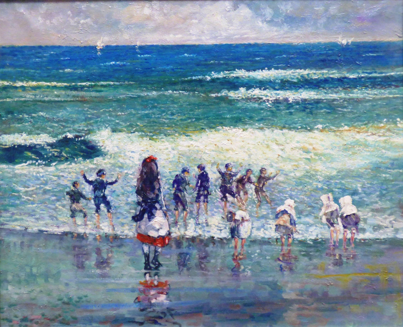 Niños en la playa. Óleo sobre lienzo.: CATALOGO de Quadrocomio La Casa de los Cuadros desde 1968
