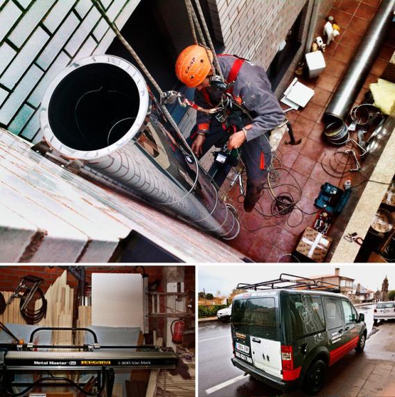 Instalación de chimenea vertical en Orense.