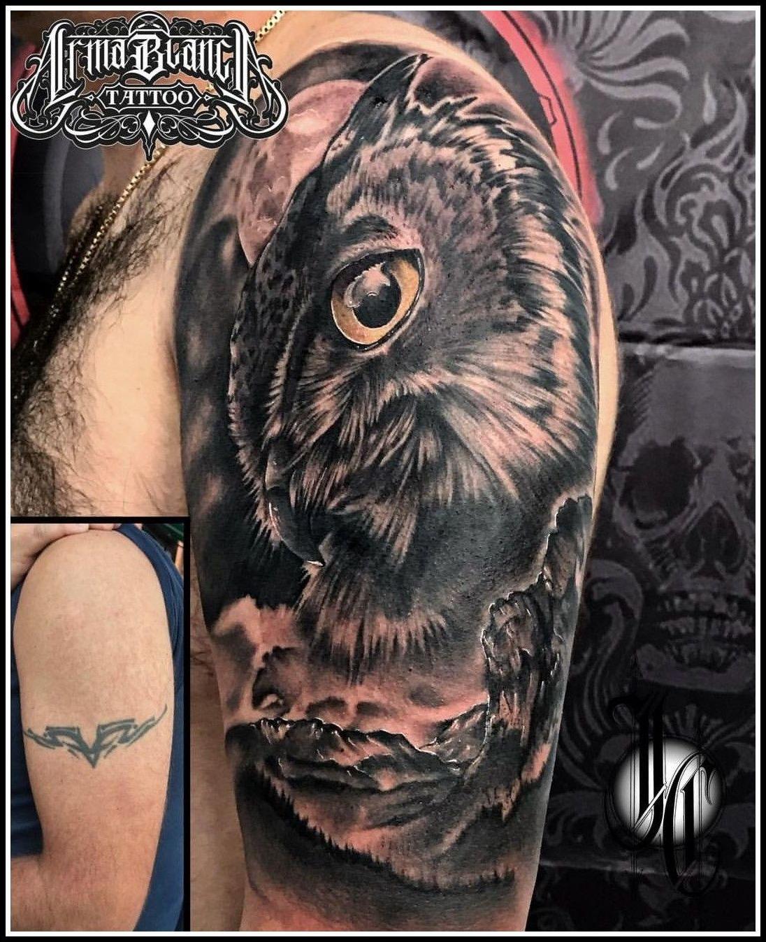 Buho realismo tattoo cover