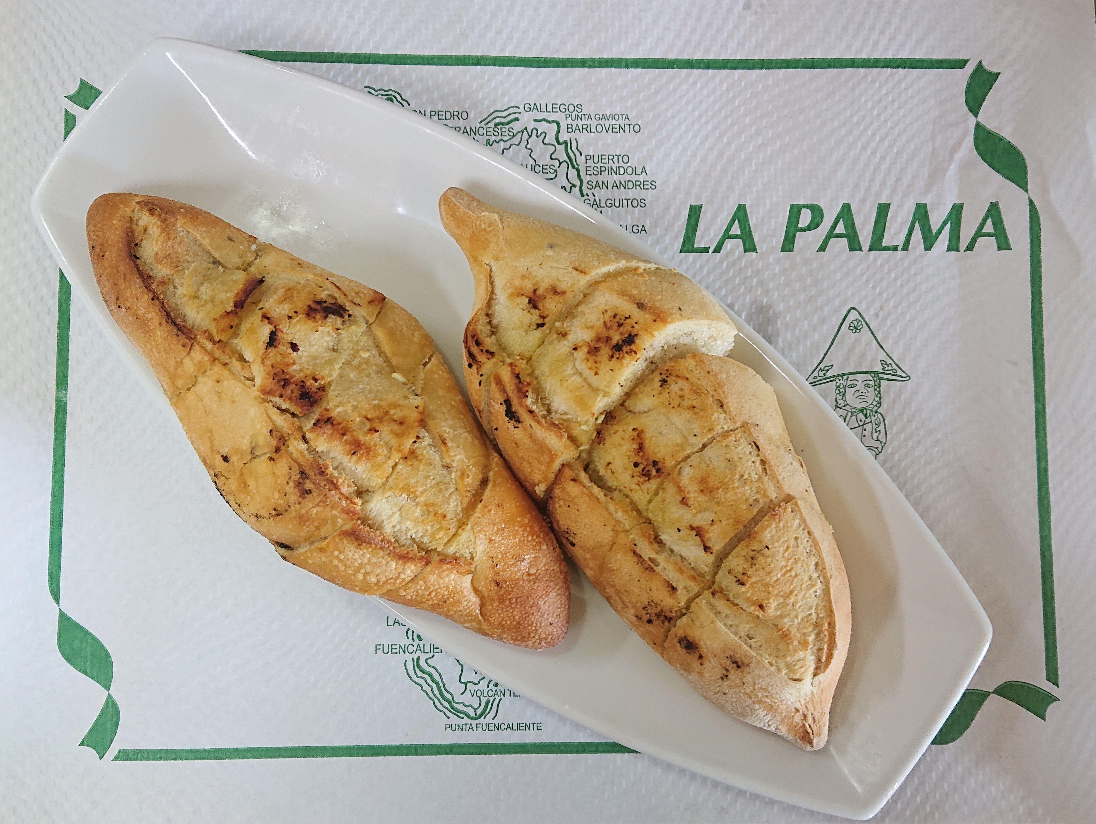 Delicioso pan de ajo en Santa Cruz de la Palma