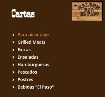 Cartas: Eventos y Cartas de Saloon - Bar El Paso