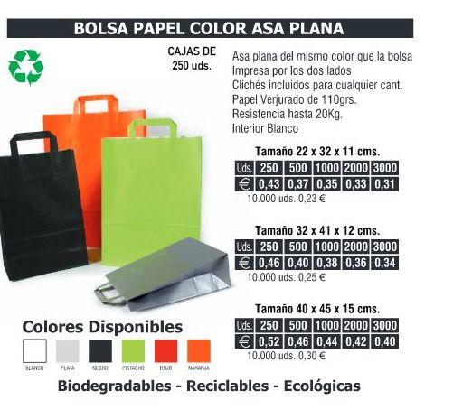 BOLSA DE PAPEL ASA PLANA 32X41CMS COLORES: TIENDA ON LINE de Seriprint Serigrafia