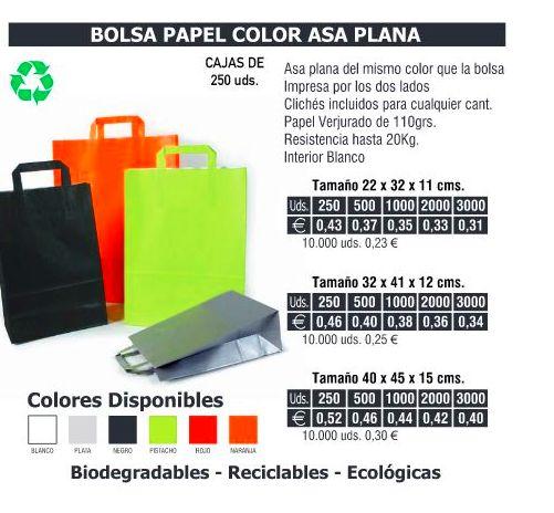 BOLSA DE PAPEL ASA PLANA 22X32CMS COLORES: TIENDA ON LINE de Seriprint Serigrafia