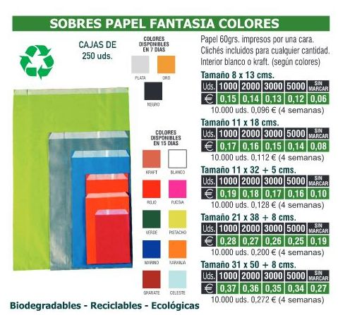 SOBRES PAPEL FANTASIA COLORES 11X18CMS: TIENDA ON LINE de Seriprint