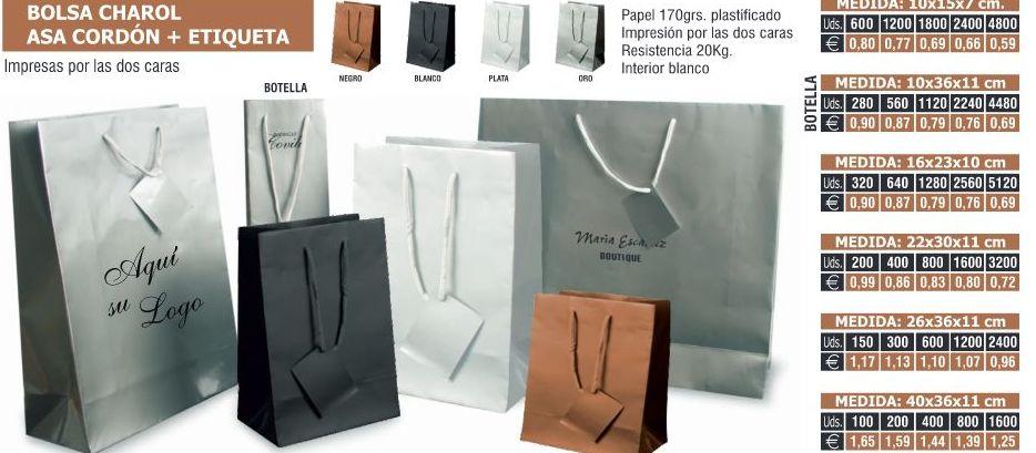 BOLSAS CHAROL ASA CORDON 10X15X7CMS: TIENDA ON LINE de Seriprint Serigrafia