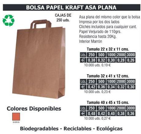 BOLSA DE PAPEL ASA PLANA 32X41CMS KRAFT: TIENDA ON LINE de Seriprint