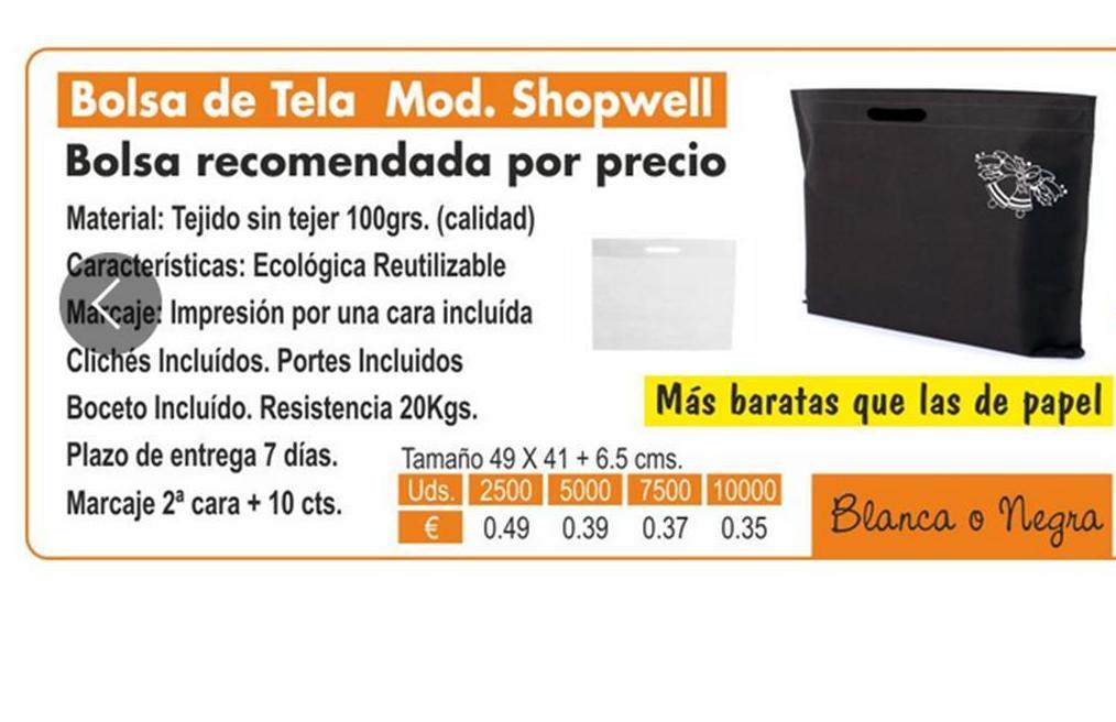 BOLSA DE TELA MODELO SHOPWELL: TIENDA ON LINE de Seriprint Serigrafia