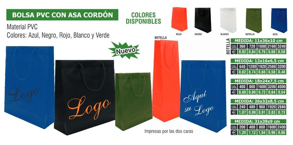 BOLSAS PVC ASA CORDON 18X24X7.5CMS: TIENDA ON LINE de Seriprint Serigrafia