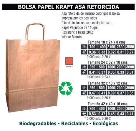 BOLSA DE PAPEL ASA RETORCIDA 18X24CMS KRAFT: TIENDA ON LINE de Seriprint