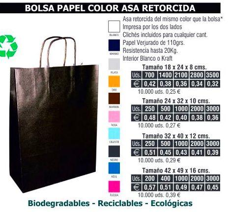 Bolsas de papel 32X40CMS de asa retorcida colores: TIENDA ON LINE de Seriprint Serigrafia
