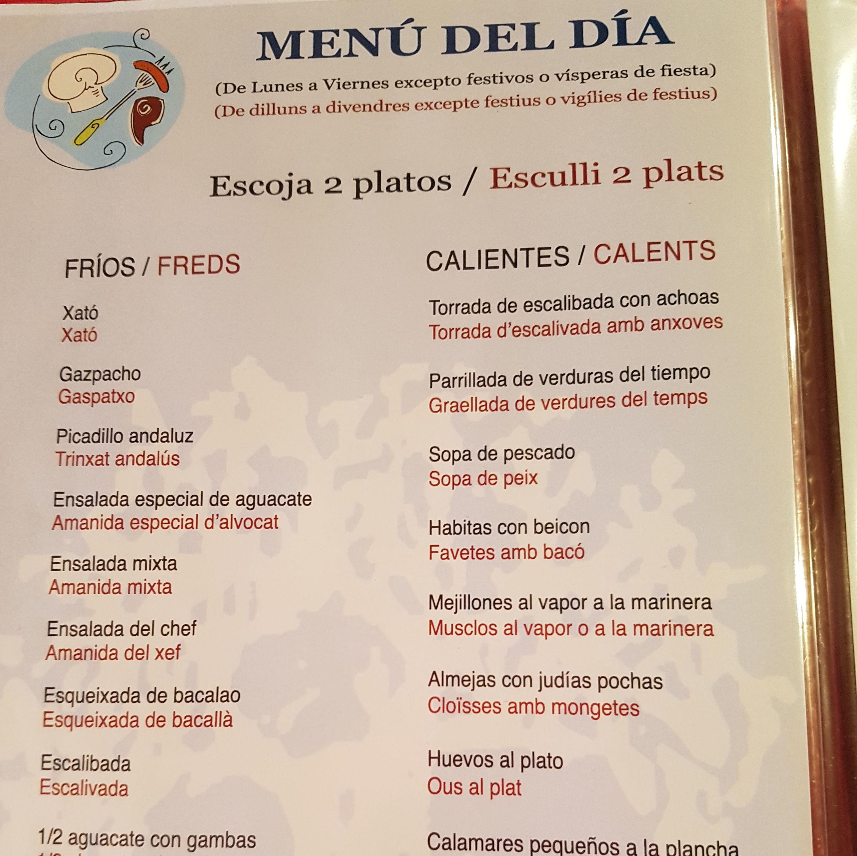 Menú del día Vilanova i la Geltrú