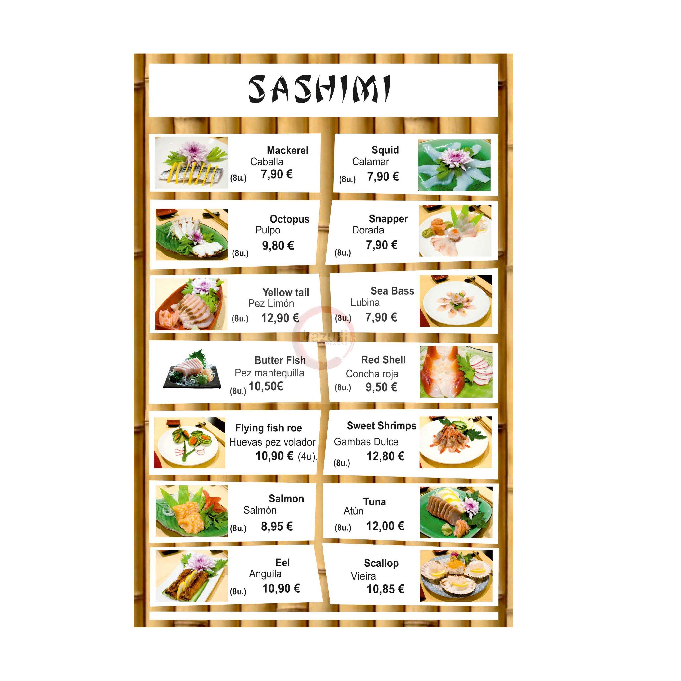 Sashimi: Carta y menú de Restaurante Teppanyaki Kazuki