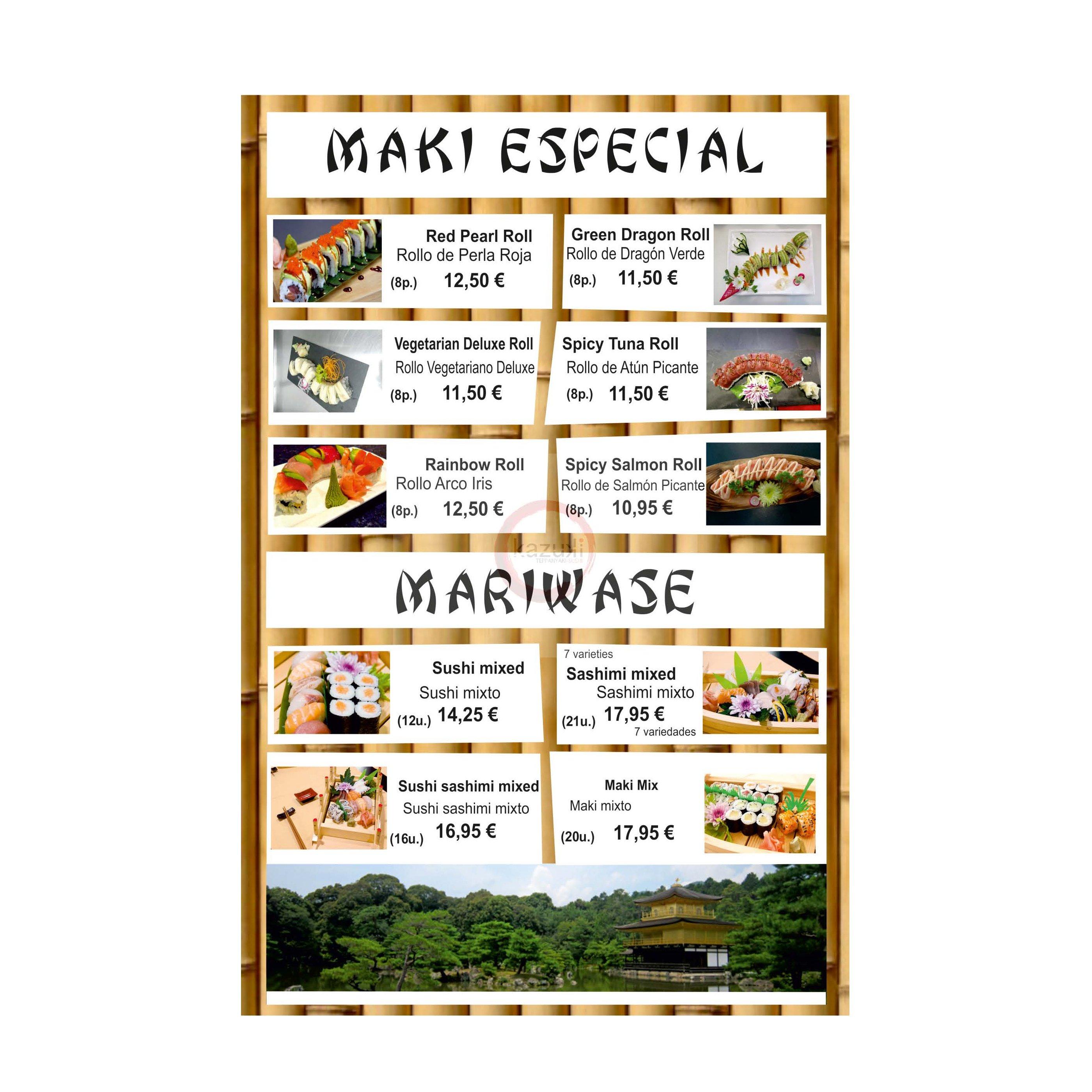 Maki especial / Mariwase: Carta y menú de Restaurante Teppanyaki Kazuki