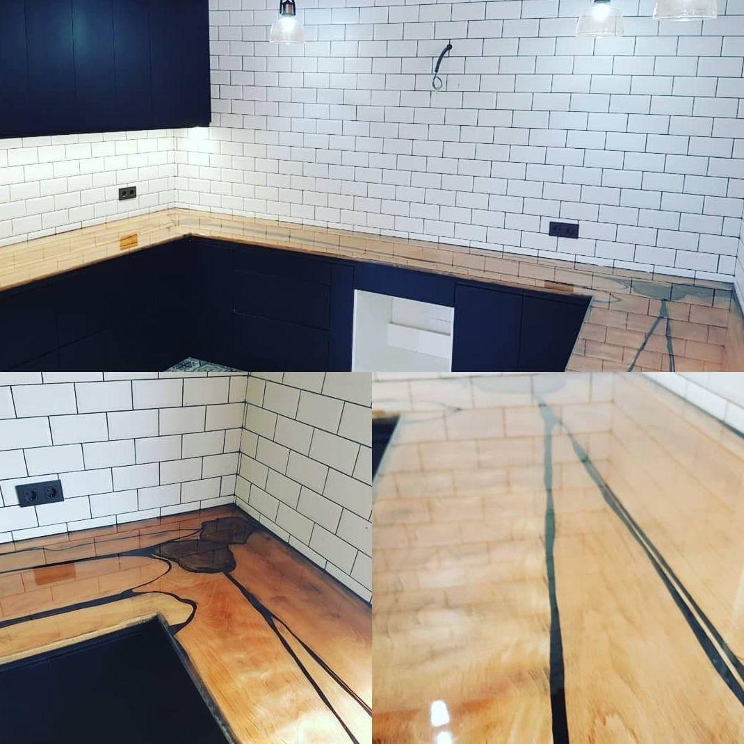 Encimera  cocina de madera natural y resina
