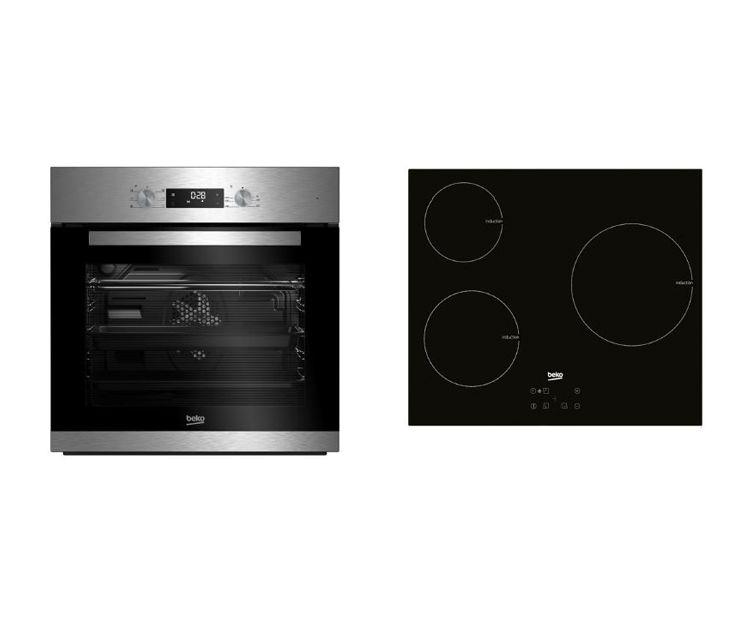Conjunto de horno multifunción y placa de inducción Beko BSE22341X