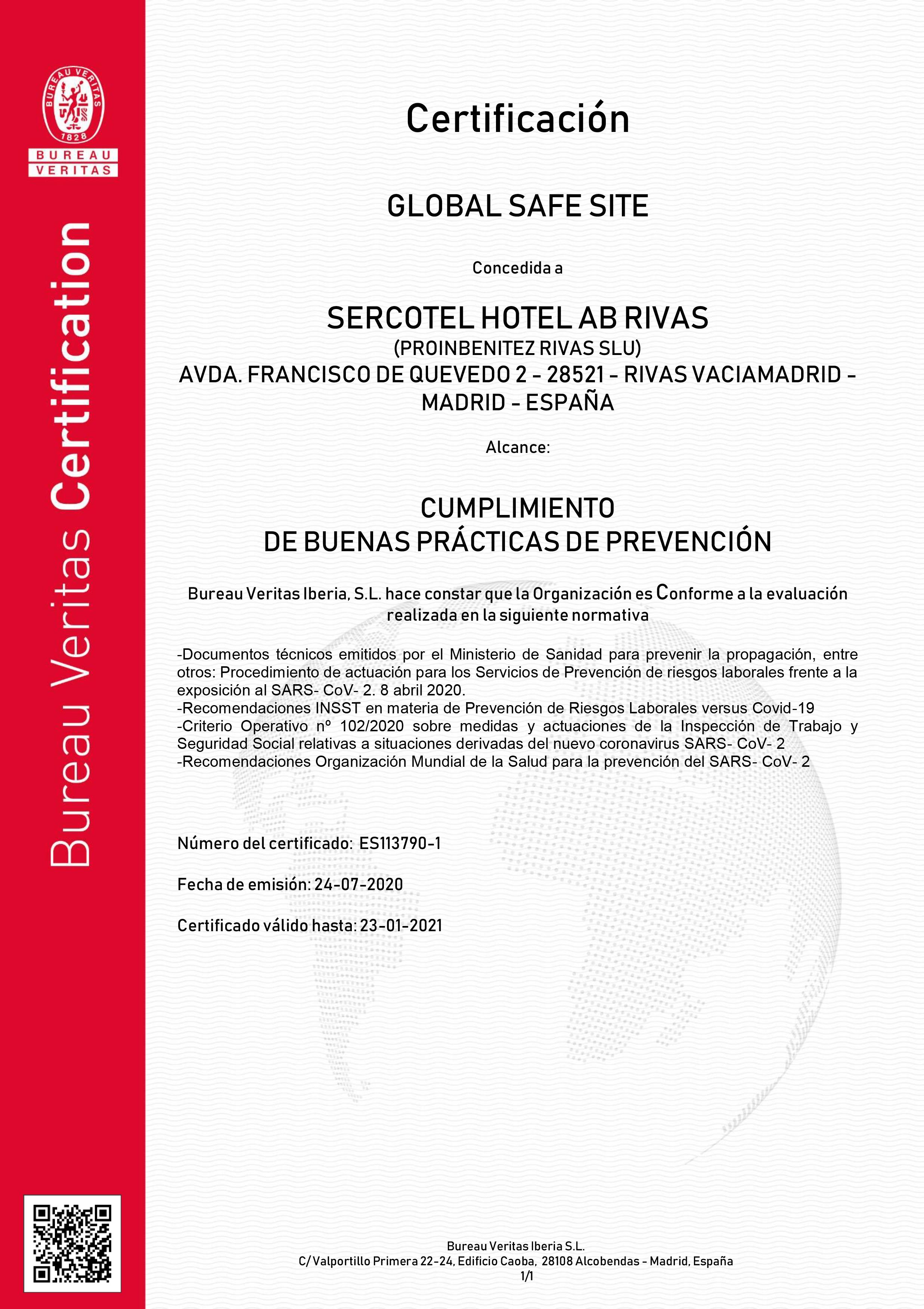CERTIFICACIÓN BUREAU VERITAS SERCOTEL AB RIVAS - RESTAURANTE SOMALLAO RIVAS VACIAMADRID