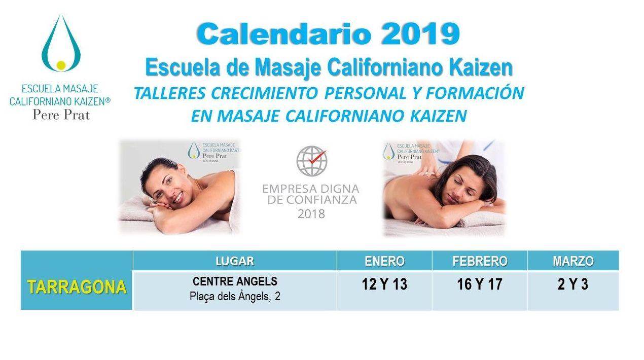 Calendario de Formación de Masaje Californiano Kaizen TARRAGONA 2019: Formación y Terapias de Escuela de Masaje Californiano