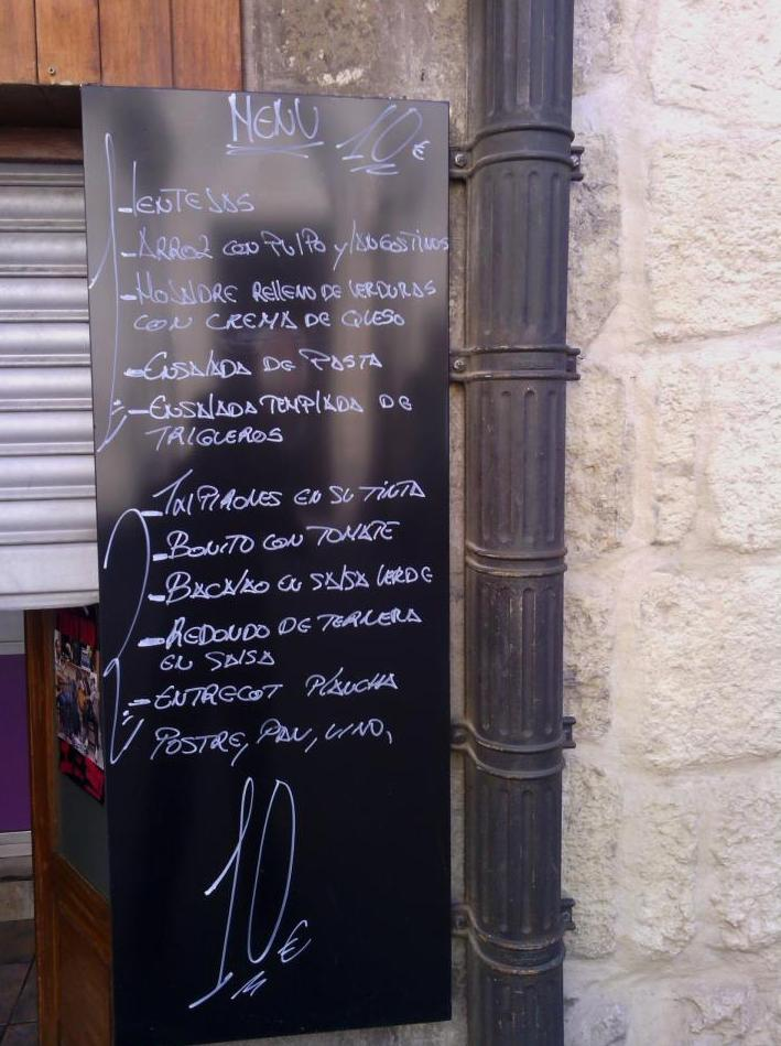 Menús diarios y a la carta: Carta de Bar Restaurante Erkiaga
