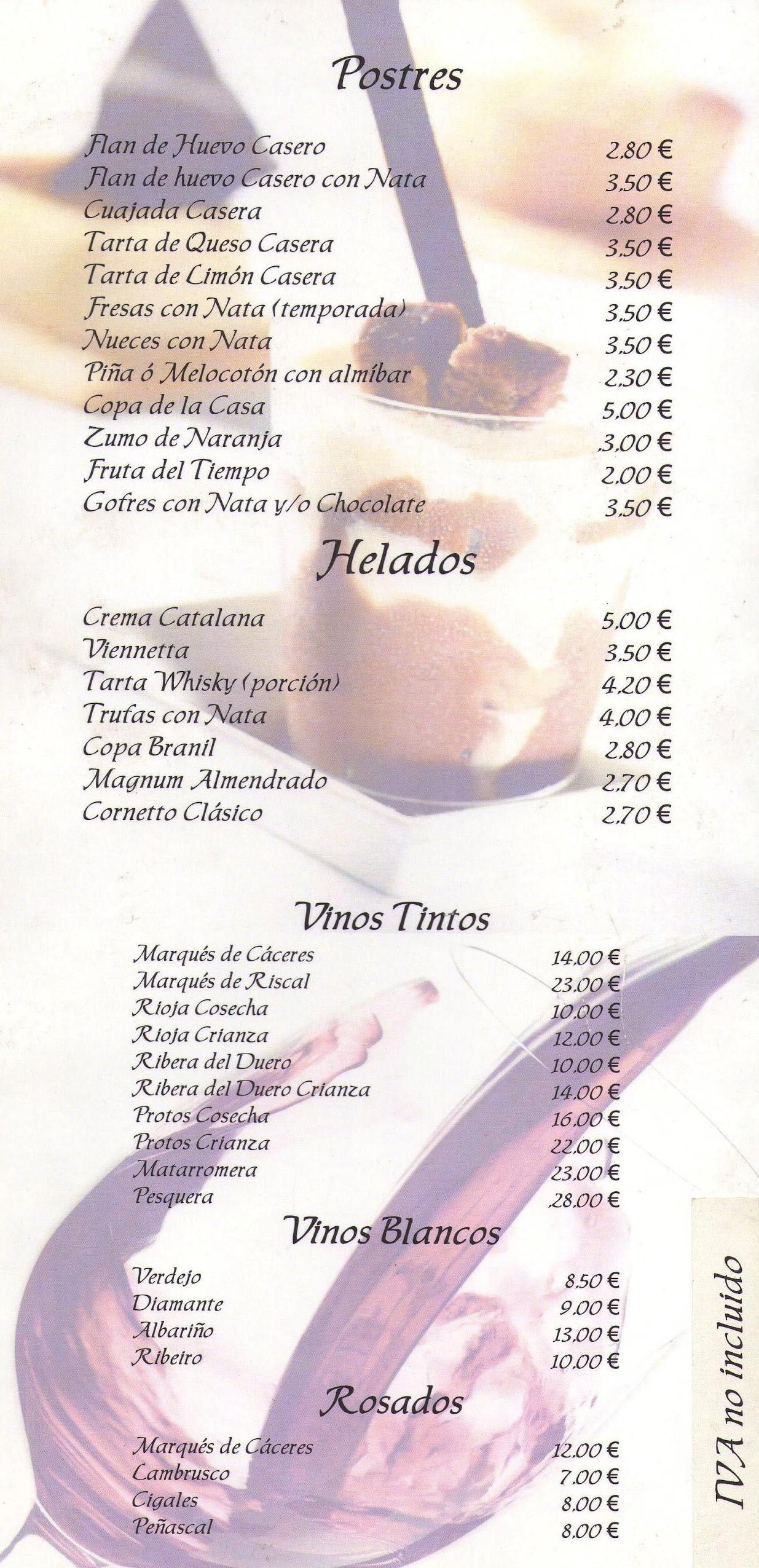 Postres y vinos: Carta de Restaurante Marisquería El Emperador