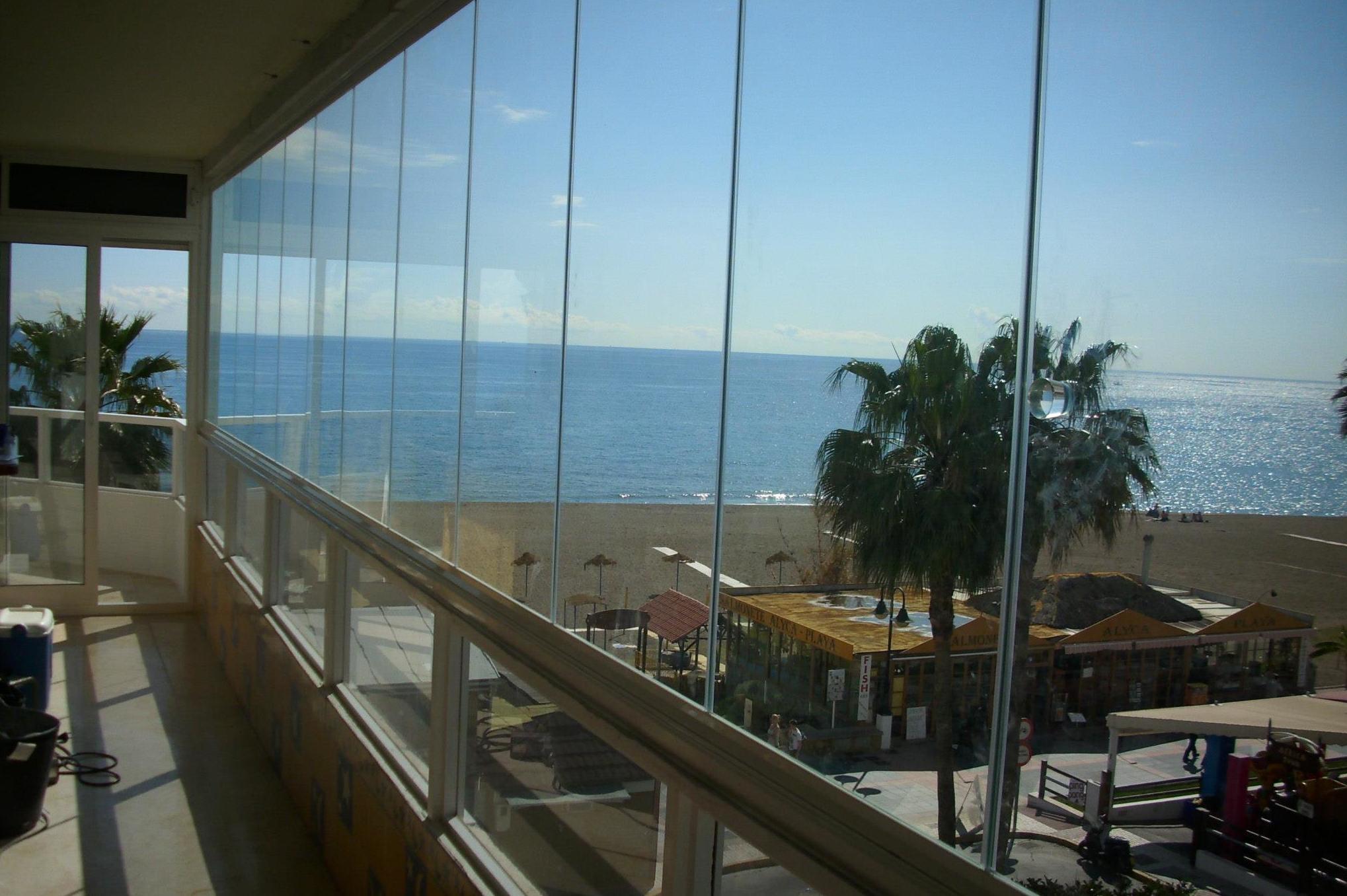 Glass curtain walls.