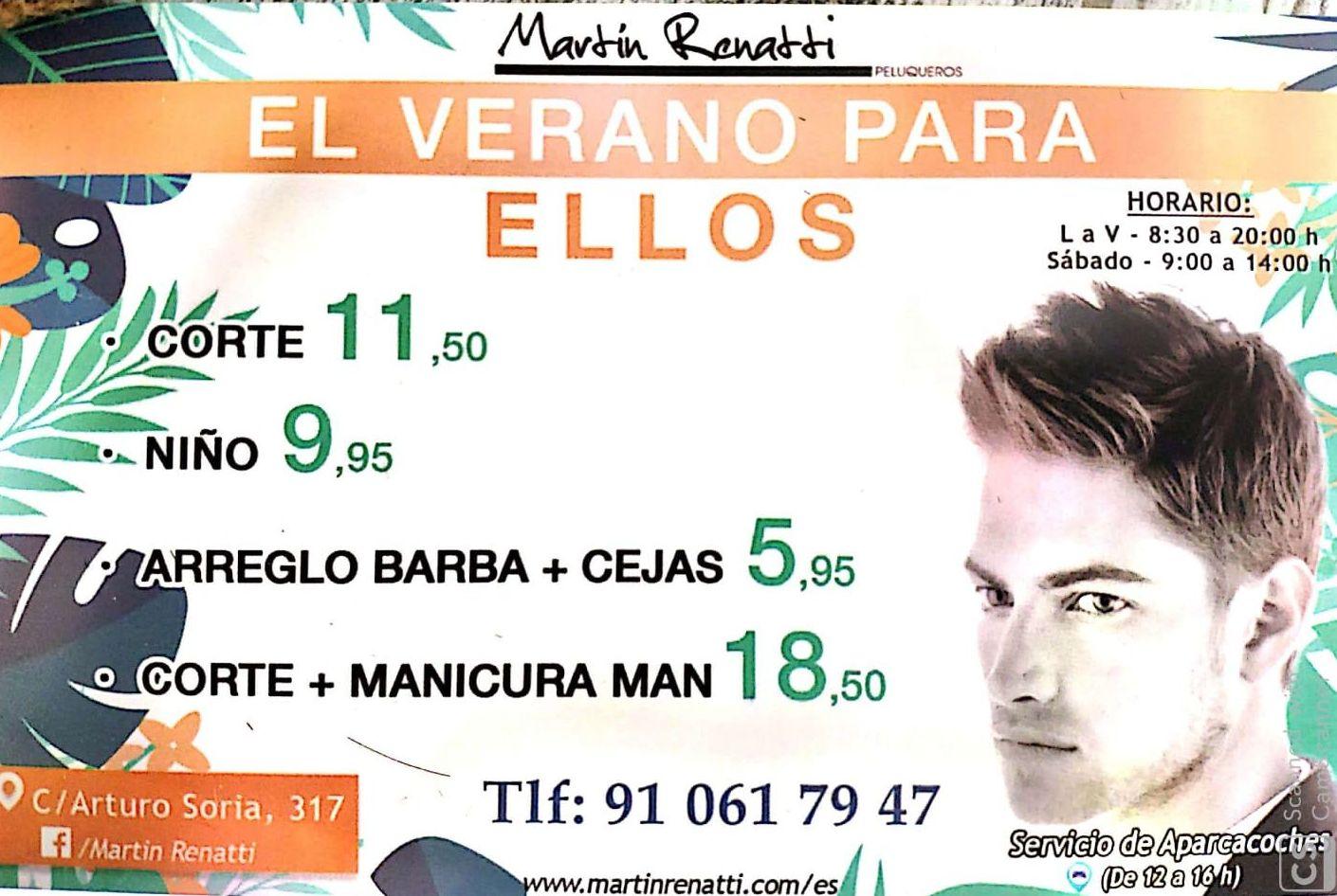 Verano para ELLOS: Servicios de Martín Renatti Peluqueros
