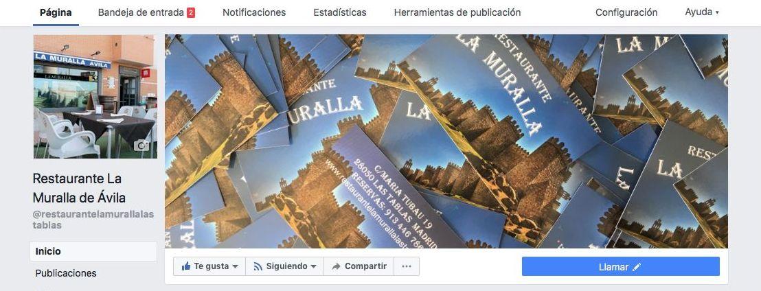 Facebook la muralla las tablas, la muralla de Avila, facebook, madrid, restaurante, menú del día las tablas, menú especial, menú fin de semana, bar de copa, económico