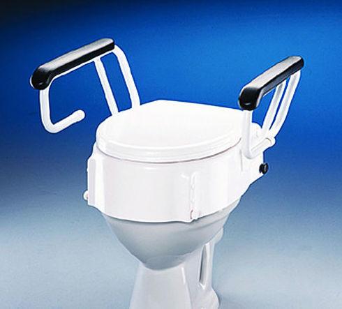 Elevador de WC regulable en altura e inclinación con apoyabrazos