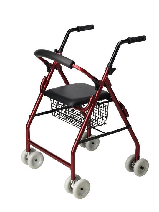 Andador con asiento con 4 ruedas con freno por presión