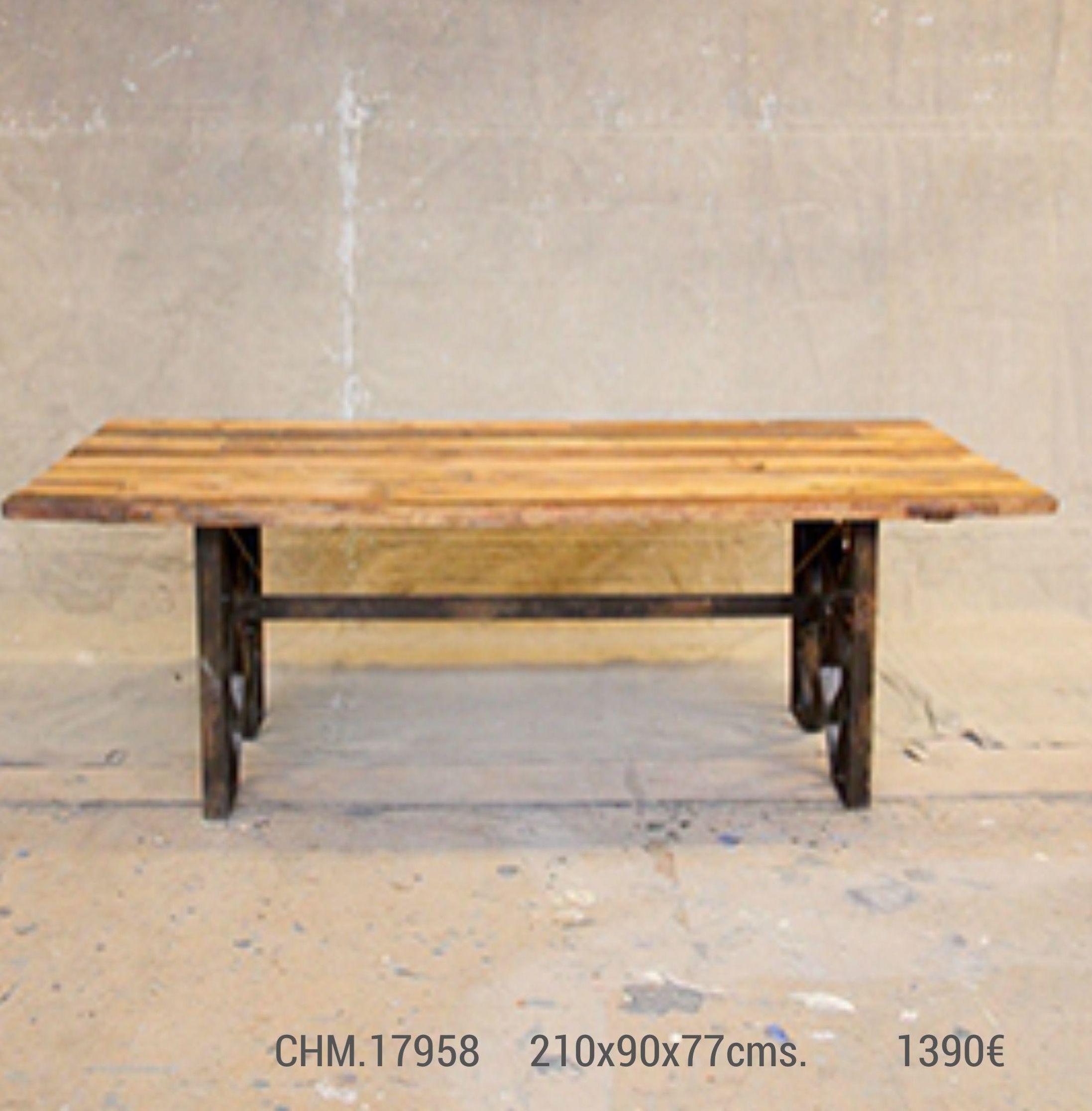 Mesa de comedor madera maciza y hierro industrial CHM-17958