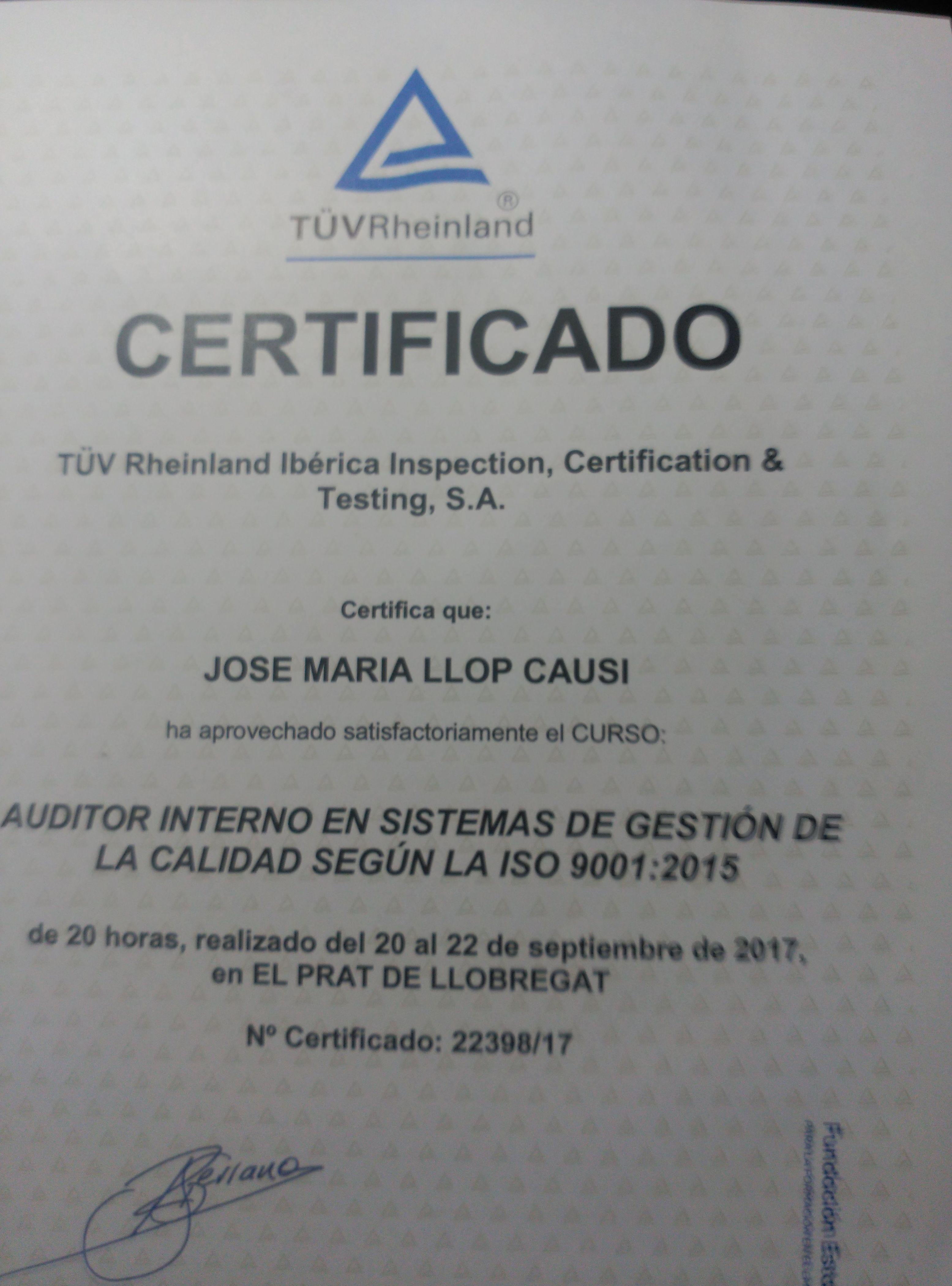 Certificaco norma ISO 9001:2105