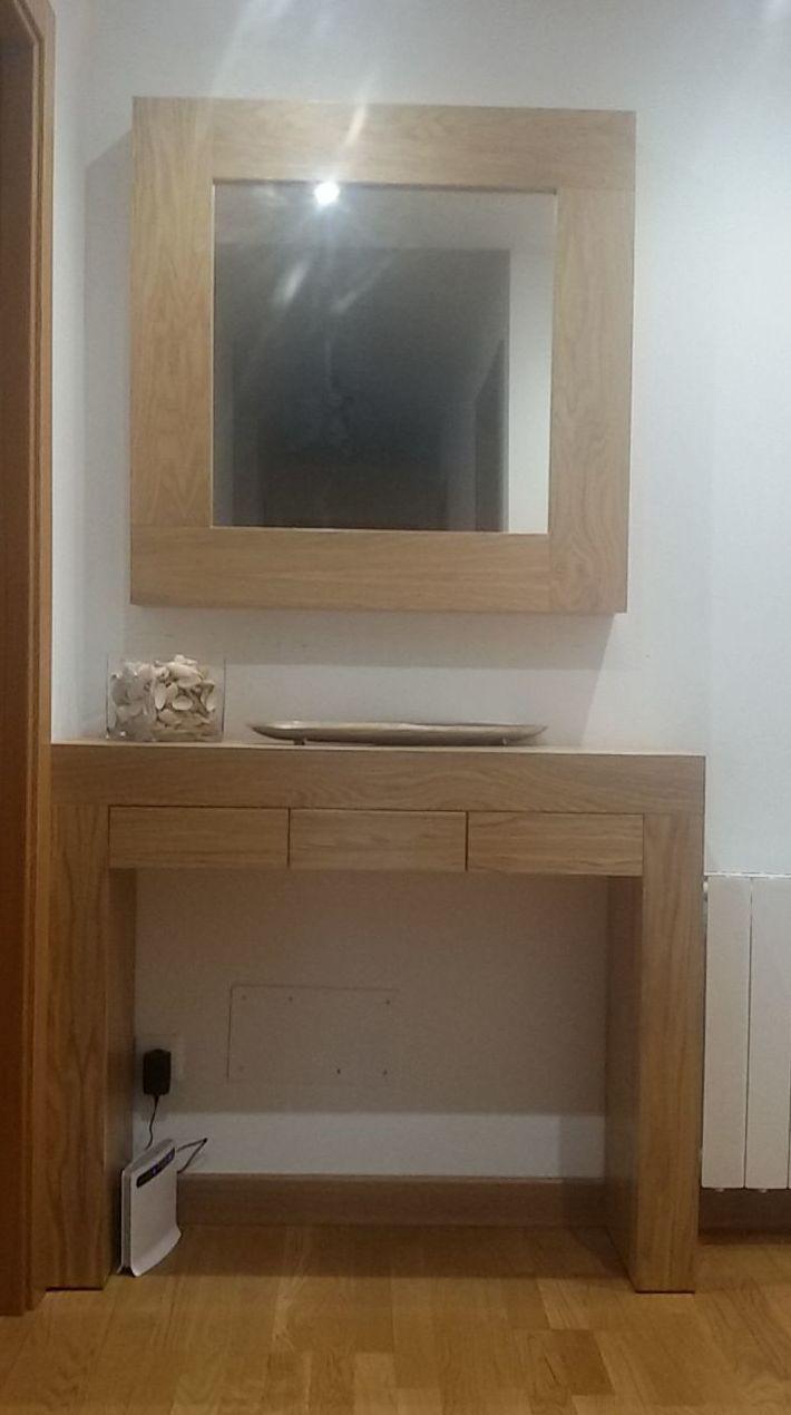 Muebles de entradas con espejo en roble