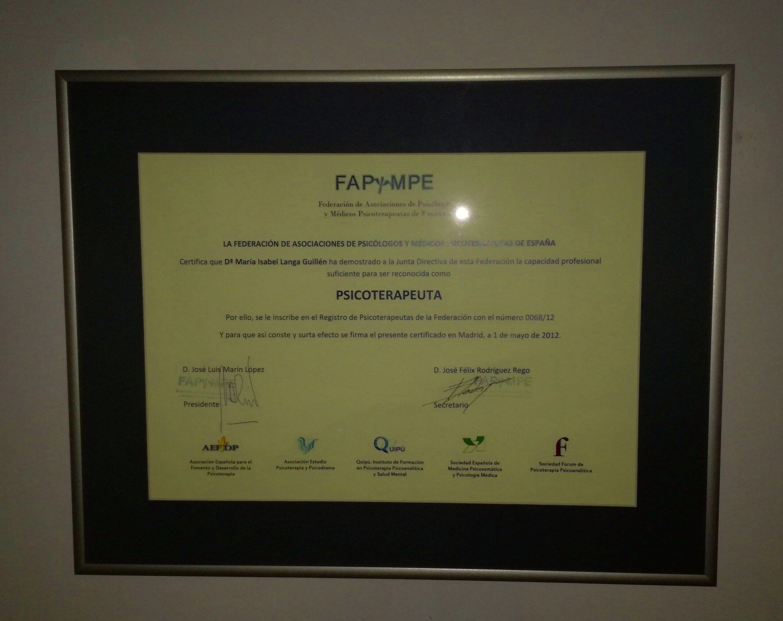 Título FAPyMPE Psicoterapeuta